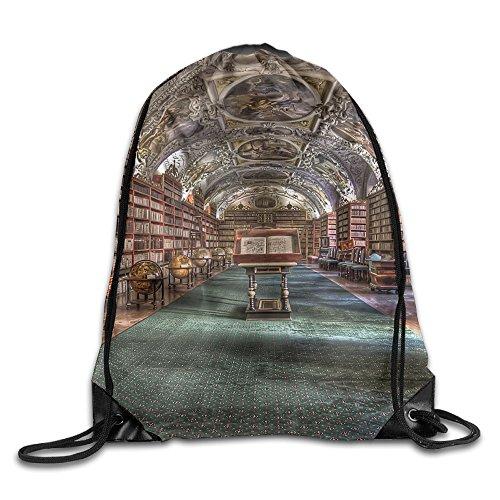 Price comparison product image Library Bookshelf Unisex Home Gym Sack Bag Travel Drawstring Backpack Bag