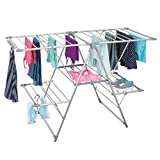 mDesign 5 Shelf Expandable Drying Rack - Collapsible Clothes Drying Rack - Accordion Drying Rack - Up to 62' - Folding Laundry Rack for Laundry Rooms - Polished Silver / Gray