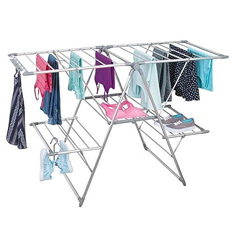 mDesign Tendedero plegable para colgar la ropa - Ideal como secador de ropa extensible - Tendedero de ropa plegable fabricado con aluminio - plateado: ...