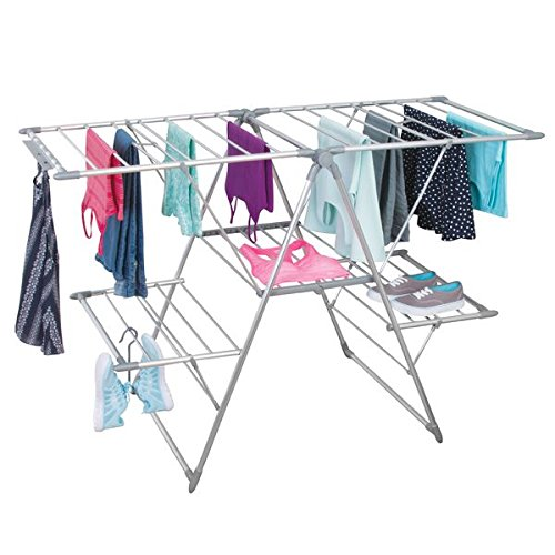 "mDesign 5 Shelf Expandable Drying Rack - Collapsible Clothes Drying Rack - Accordion Drying Rack - Up to 62"" - Folding Laundry Rack for Laundry Rooms - Polished Silver / Gray"