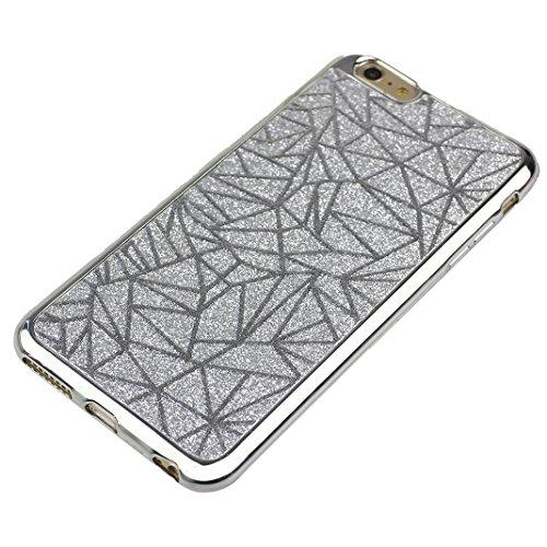 Schutzhülle iPhone 6S Soft Backcover Rosa Schleife Glitzer Case Hülle für >            Apple iPhone 6 / 6S            < aus weich TPU Silikon mit Bling Design in Silber