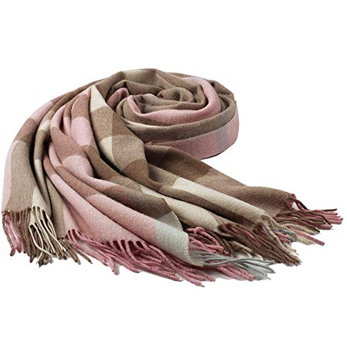 - Ladies Gift Idea Cashmere Scarf Fashion Warm Wool Wrap Shawl Winter Stole for Women (Pink)