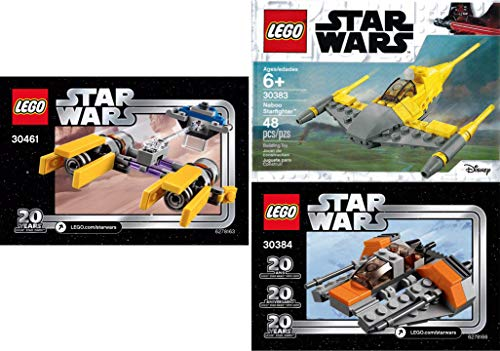 LEGO Galaxy Star Ships Wars Mini Ship Pack Snowspeeder 30384 20 Years Bundled with + 30461 PODRACER & Naboo Starfighter 30383 Buildable 3 Items Poly Bag -
