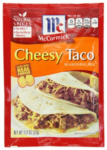 McCormick Cheesy Taco Seasoning Mix, 1.12 oz, Made with All-Natural Herbs and Spices, No MSG or Artificial Flavors, Perfect For Any Taco Fiesta  (Pack of - Taco Seasoning Dip