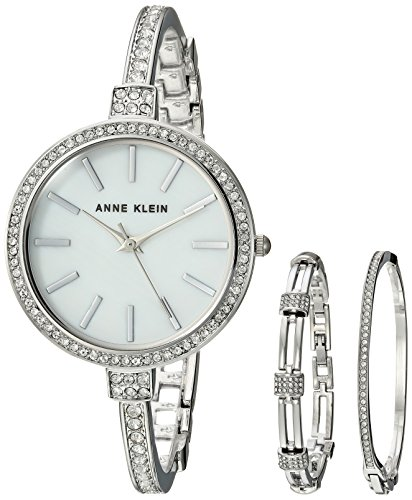 Anne Klein Ladies Crystal - Anne Klein Women's AK/2847SVST Swarovski Crystal Accented Silver-Tone Watch and Bangle Set