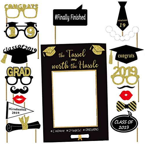 LUOEM Graduation Photo Props Graduation Photo Booth Picture Frame Glitter Congratulations Graduation Party Decorations for 2019 Graduation Party Supplies