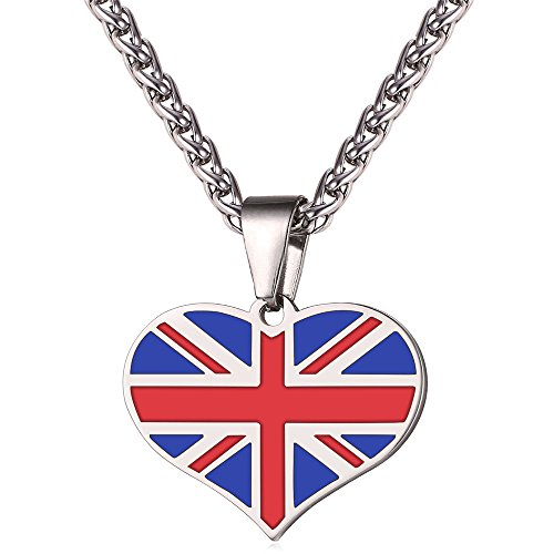 (National Flags Jewelry Custom Design I Love My Country Stainless Steel Chain Charm Pendant Heart UK Flag Necklace)