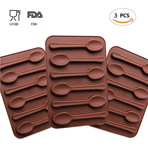 Chocolate Mold Spoon (Inn Diary Silicone Gel Non-stick Chocolate Mold - Protein and Energy Bar Mold, Jelly and Candy Mold, Cake Baking Mold (3 Qty.))