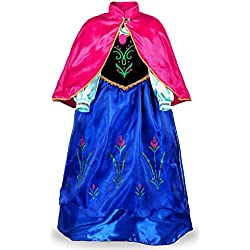 JerrisApparel Snow Party Dress Queen Costume Princess Cosplay Dress Up (3-4, Dark Blue)