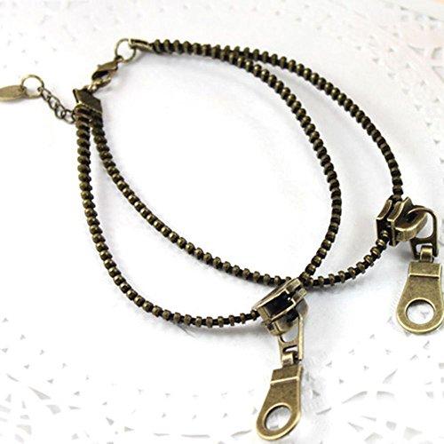 Metal Bronze Zipper Shaped Gift Rock Foot Chain Bracelet Ankle Chain ()