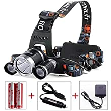 McMin BORUIT 3 X CREE XM-L T6 LED Light 5000LM LED Headlamp Bicycle Headlight +2pcs 18650 rechargeable battery+1 pc Car Charger+AC Charger