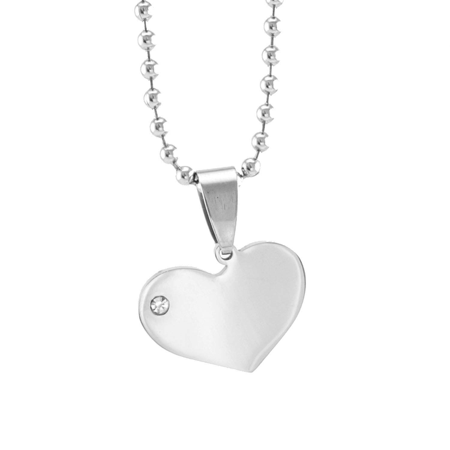 Heart Charms Rhinestone in Heart Pendants Blank Pendant for Engrave Print Mirror Polish Stainless Steel 100 Pcs,A1