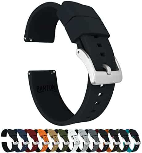 BARTON Elite Silicone Watch Bands - Quick Release - Choose Strap Color & Width - Black 22mm