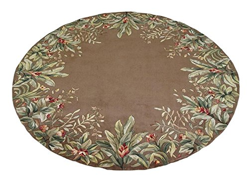 Kas Rugs 9000 Emerald Tropical Border Round Area Rug, 7-Feet 6-Inch, Taupe