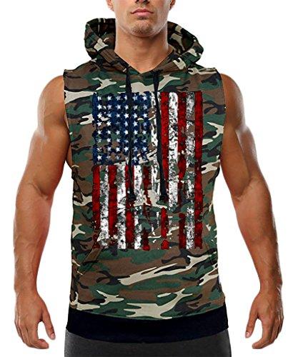 Interstate Apparel Men's Huge American Flag Sleeveless Camo Vest Hoodie Medium -