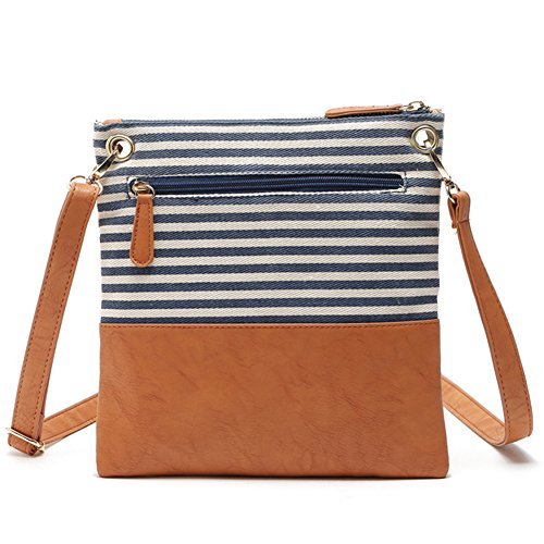 Leather Handbag for Crossbody Stripe Girls Women Messenger Adjustable Striped Bag Bag Lady Tassel Canvas Black Zipper Shoulder Double UxE7Pt