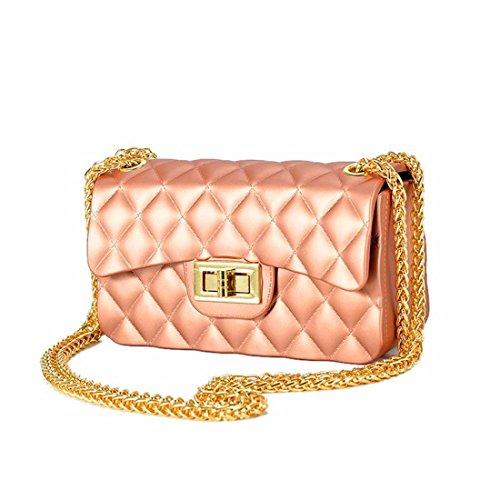 Chiffon mate jalea Bolsa Bolsa Bolsa cadena mini bolsa bolsa bandolera, rosa
