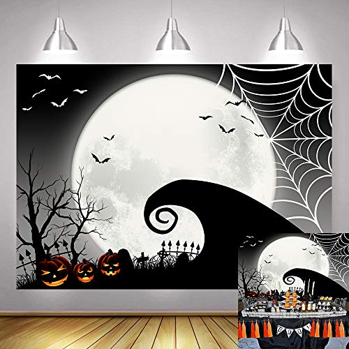 Nightmare Before Christmas Theme (Art Studio 7x5ft Nightmare 2019 Halloween Themed Photography Backdrop Horror Pumpkin Trick or Treat Jack Theme Baby Shower Party Decor Photo Background Before Christmas Studio Props Home Banner)