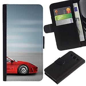 Billetera de Cuero Caso Titular de la tarjeta Carcasa Funda para Samsung Galaxy S3 III I9300 / Supercar Sprotscar Fast Car Red Blurry Speed / STRONG