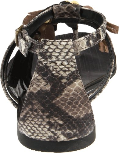 Chinese Was Dames Gember Snap T-strap Sandaal Zwart Multi