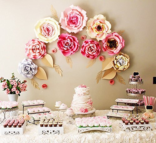 9 large paper flowers for baby shower sweet table or bridal shower decor