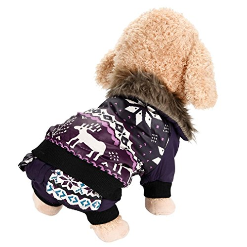 Minisoya Dog Pet Warm Cotton Coat Christmas Elk Puppy Winter Clothes Pet Costume (Purple, L) ()