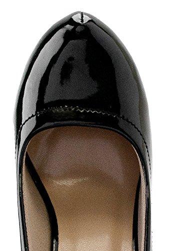 Delicatezza Delphi-94 Vestito Di Classe Sexy Tacco Alto Cinturino Alla Caviglia Stiletti Piattaforma Pompe Snj Scarpe Brevetto Nero