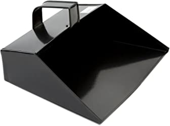 "COTTAM ISH00003 Large Metal Cleaning Dustpan Scoop Heavy Duty Black Hooded Dust Pan 279mm / 11"" Wide with Handle Suitable for Household, Garden & Trade Use"
