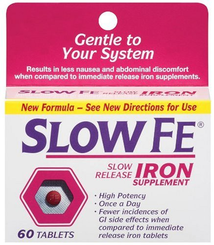 Slow Fe Slow Release Iron Tablets, 60-Count Boxes (Pack of 2)