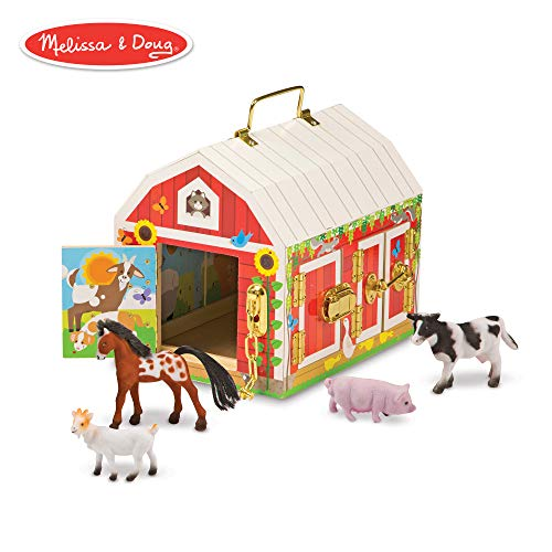 Melissa & Doug Latches Barn Toy (Developmental Toy, Helps Improve Fine Motor Skills, Painted Wood Barn, 10.5