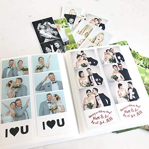 Photo Booth Photo Album - Holds 120 Photobooth 2x6 Photo Strips - Slide in - White Cover (Photo Booth Picture Album)