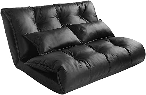 Adjustable Floor Couch and Sofa for Living Room and Bedroom,Leather Floor Chair Adjustable Sofa Bed Lounge Floor Mattress Lazy Man Couch with Pollows,Black