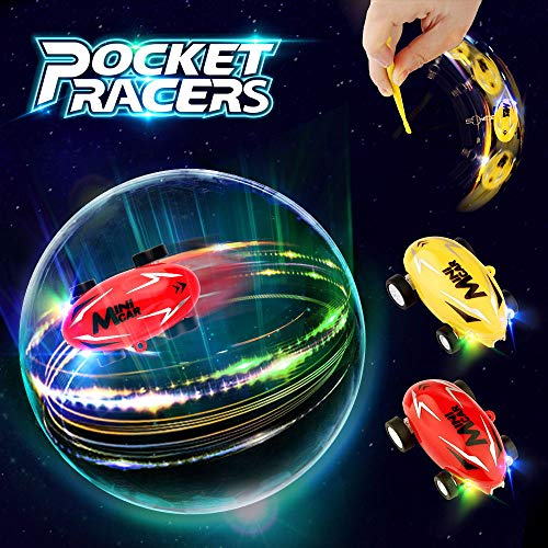 Mini Race Cars (Growsland Car Toys for Boys Gifts 2 Pack Mini Cars High Speed Micro Racer Pocket Racer Spin Toys Rechargeable Stunt Novelty Stress Relief Toys with LED Light for Kids Girls)