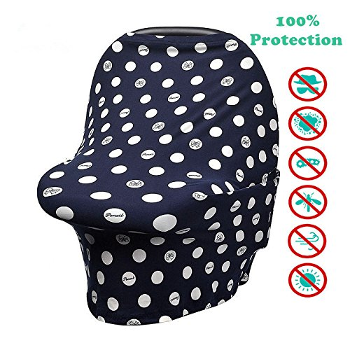 Stretchy Multi Use Nursing Covers for Baby Breastfeeding and Car-seat Cover, shopping Cart, Best Canopy Scarf (dark blue + white dots + - Us Coupon With Shipping Wrap Free
