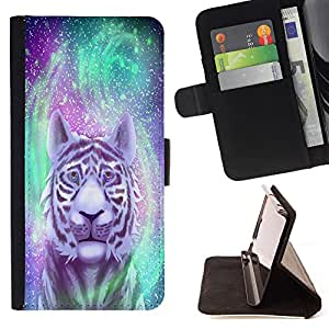 - Tiger Space - - Monedero PU titular de la tarjeta de cr?dito de cuero cubierta de la caja de la bolsa FOR HTC Desire 820 Retro Candy