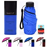 Compact Travel Umbrella with Waterproof Case, 6 Ultra Strong Ribs Finest 99% UV Protection Outdoor Umbrella for Women and Men (DarkBlue)