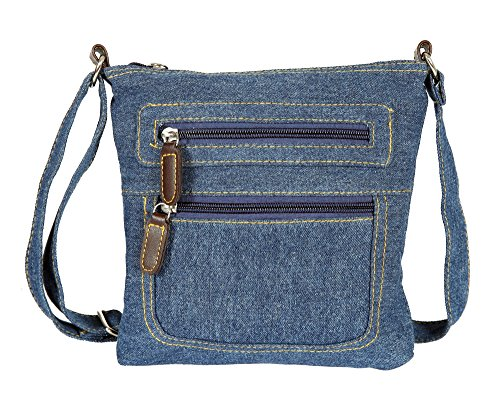 JollyChic Small Denim Bag Mini Crossbody Bag with 2 External Zip Pockets (Denim) Jean Handbag Purse