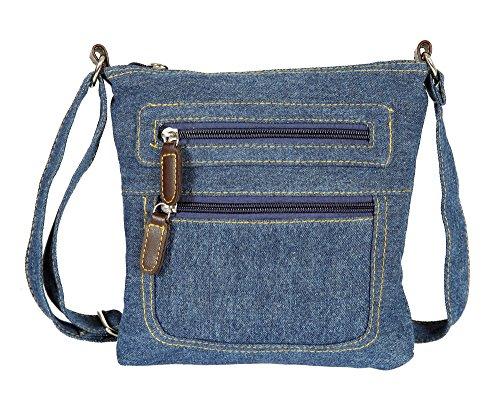 Small Denim Mini Crossbody Bag with 2 External Zip Pockets (Denim)