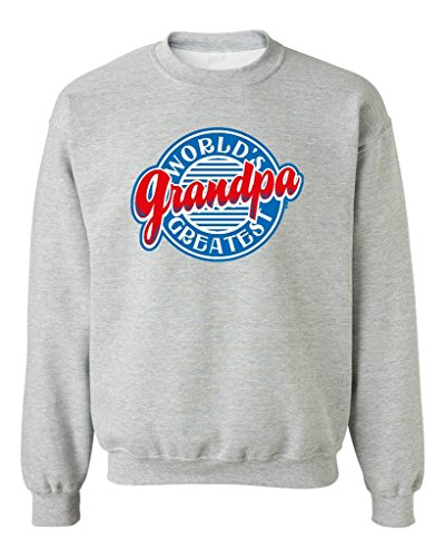 P&B World's Greatest Grandpa Funny Crewneck Sweatshirt, L, H. Grey