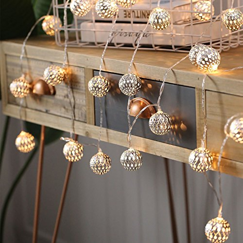 Goodia 10.49ft 30 LED Globe Fairy String Lights, Battery Operated Silver Moroccan Party Hanging Lights Decorative Accent Lamp for Home, Wedding, Garden (Warm White)