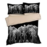 Luxury Black Elephants Cotton Microfiber 3pc 80''x90'' Bedding Quilt Duvet Cover Sets 2 Pillow Cases Full Size