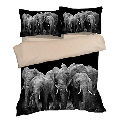 Luxury Black Elephants Cotton Microfiber 3pc 80''x90'' Bedding Quilt Duvet Cover Sets 2 Pillow Cases Full Size by DIY Duvetcover
