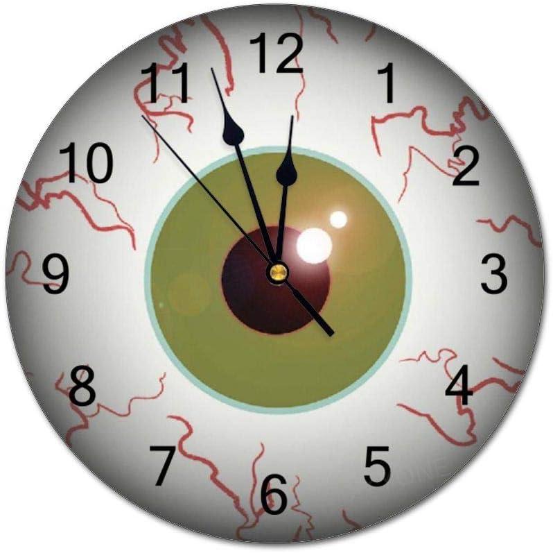 yyone Home Decor Silent Non Ticking Scary Eyeball Eye Ball Halloween Bedroom Or Kitchen Decorative Environmental PVC Wall Clock 10 Inch