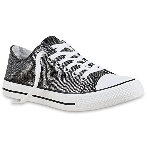 8ed0ec80a073 Stiefelparadies Glitzer Damen Sneakers Sneaker Low Metallic Schnürer Denim  Flats Turnschuhe Sportschuhe Flandell Schwarz Silber