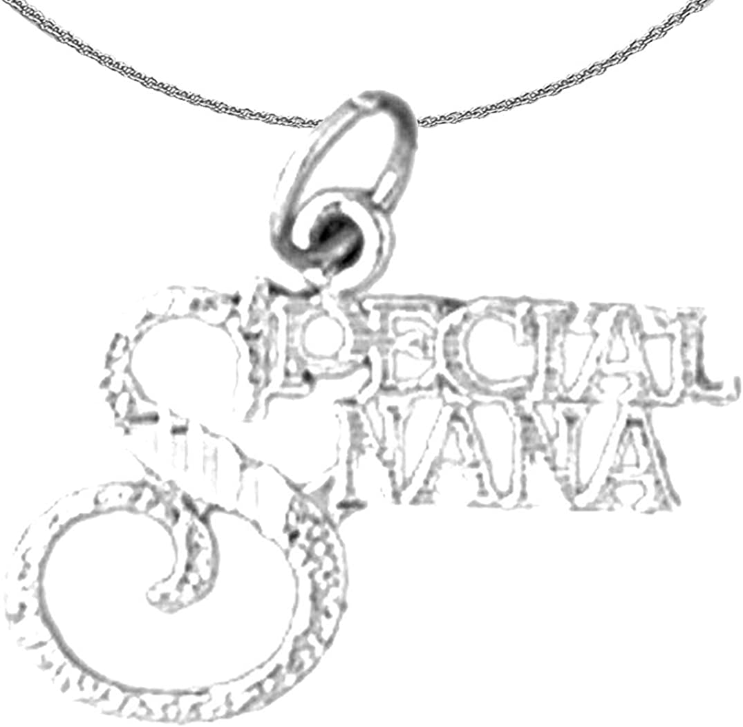 Jewels Obsession Silver Saying Necklace Rhodium-plated 925 Silver Special Nana Saying Pendant with 18 Necklace
