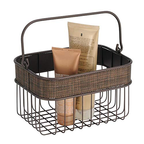 mDesign Metal Woven Storage Basket Bin with Handle for Organizing Hand Soaps, Body Wash, Shampoos, Lotion, Conditioners, Hand Towels, Hair Accessories, Body Spray, Mouthwash - Small - Bronze