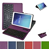 Galaxy Tab E 9.6 Bluetooth Keyboard Case,Mama Mouth Slim Stand PU Leather Case Cover with Romovable Bluetooth Keyboard for Samsung Galaxy Tab E 9.6 / E Nook 9.6 T560 T561 T567 Verizon 4G LTE,Purple
