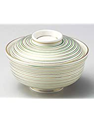 Green Gold Lines 4 9inch Set Of 5 Medium Bowls With Covers White Porcelain Made In Japan
