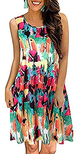 Tshirt Dresses for Women Summer Beach Boho Sleeveless Floral Sundress Pockets Swing Casual Loose Cover Up(Colorful,2X) ()