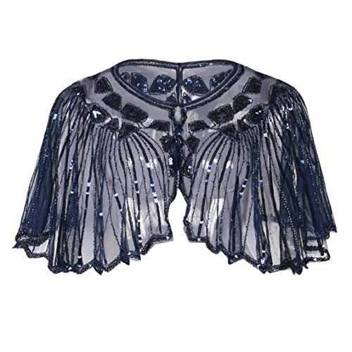 Beaded Evening Gown (Kayamiya Women's 1920s Shawl Sequin Beaded Art Deco Wedding Cape Evening Wrap Blue)